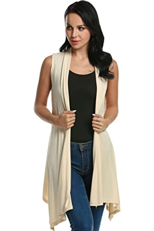 Meaneor Women's Sleeveless Asymmetric Open Front Drape Cardigan ...