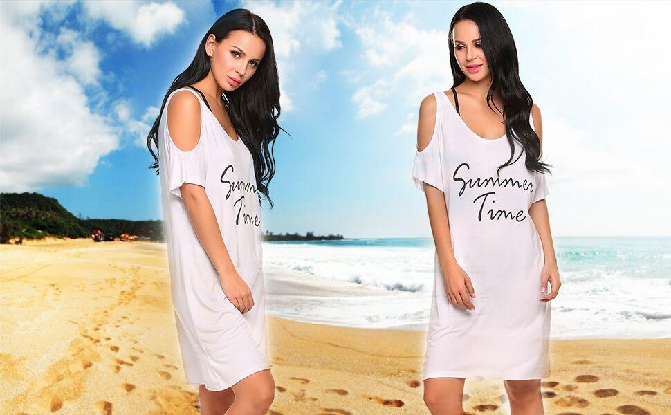f241734c59 Beach Cover-ups Womens off shoulder Baggy Bikini Dress V Neck T-shirt