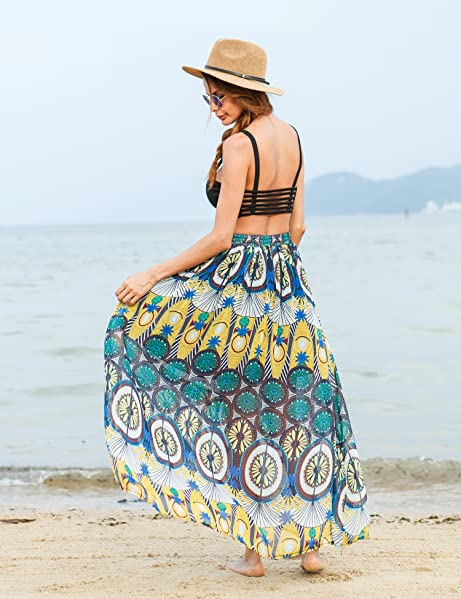58d520a5bf Amazon.com: Meaneor Bohemian Chiffon Skirt Women Pleated Vintage ...
