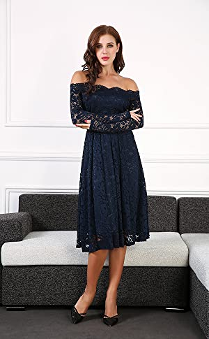 Meaneor Womens Off Shoulder Lace Floral Cocktail Party Swing Dress