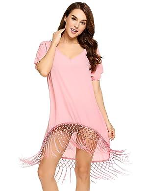 ac6165418e ... Womens Knitted Crochet V Neck Bikini Beach Dress. Occasion: Casual  Tshirt,Beach Dress, Bikini Cover-ups ,Best Choice for Your Vacation or  Honeymoon