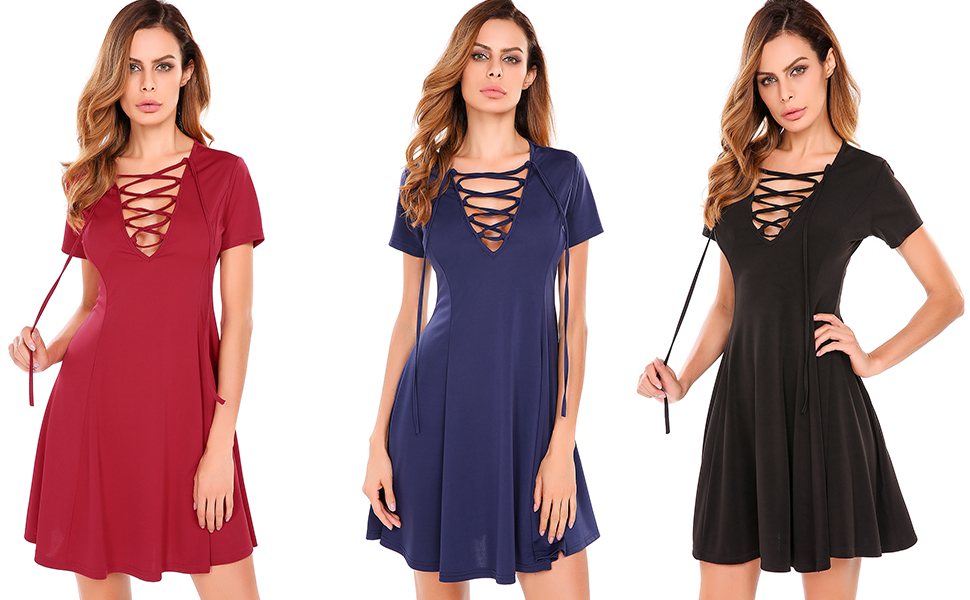 Meaneor Lace Up Short Sleeve Summer Casual Tunic Swing Skater Dress ... 450b14543