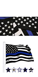 G1258 Thin Blue Line Embroidered 220 GSM Spun Polyester 3x5 Ft