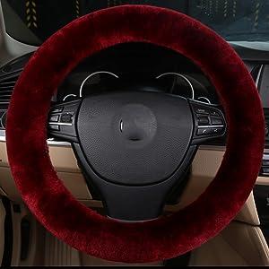 MLOVESIE Auto Car Steering Wheel Cover Fluffy Genuine Wool Sheepskin Anti-slip Universal for 15 inch
