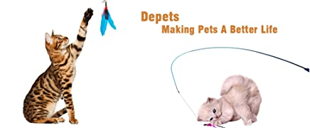 Depets Feather Teaser Cat Toy, Retractable Cat Feather Toy Wand with 5 Assorted Teaser with Bell Refills, Interactive Catcher Teaser for Kitten Or Cat Having Fun Exerciser Playing 10
