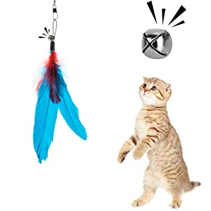 Depets Feather Teaser Cat Toy, Retractable Cat Feather Toy Wand with 5 Assorted Teaser with Bell Refills, Interactive Catcher Teaser for Kitten Or Cat Having Fun Exerciser Playing 17