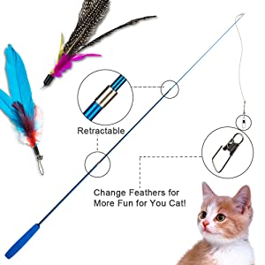 Depets Feather Teaser Cat Toy, Retractable Cat Feather Toy Wand with 5 Assorted Teaser with Bell Refills, Interactive Catcher Teaser for Kitten Or Cat Having Fun Exerciser Playing 15