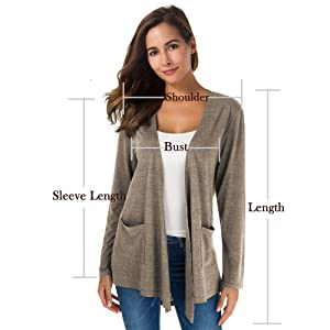 TownCat Cardigans for Women Loose Casual Long Sleeved Open Front Breathable Cardigans with Pocket 20