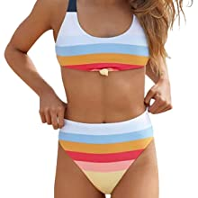 9349645821ac7 Amazon.com: Honlyps Two Piece High Waisted Bathing Suit Striped ...