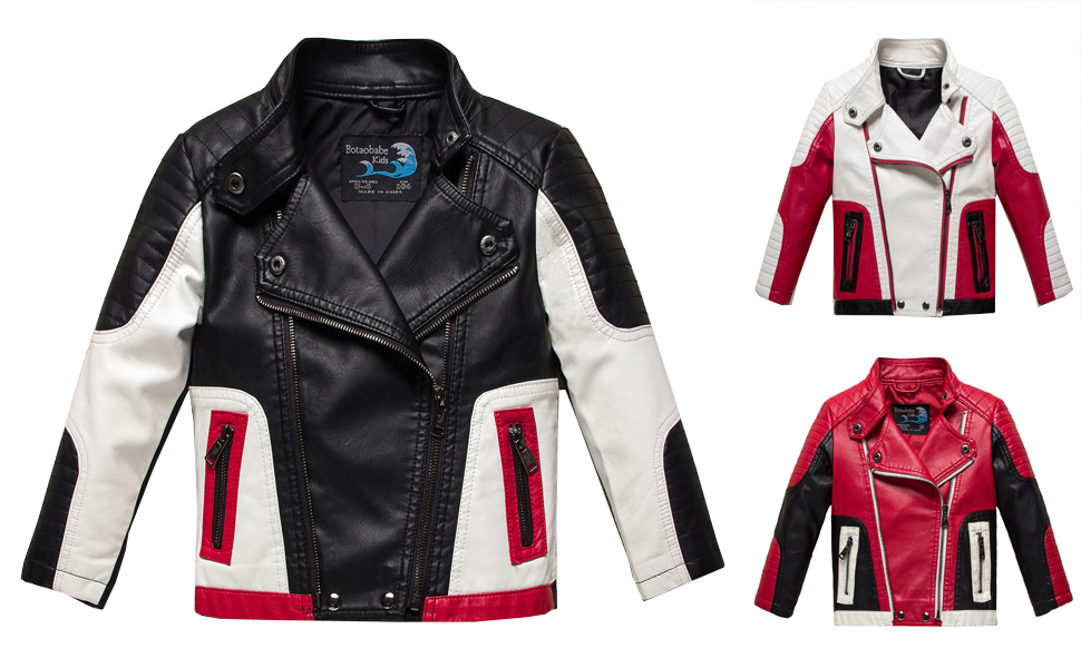 Amazon.com: Budermmy Boys Leather Motorcycle Pilot Jackets