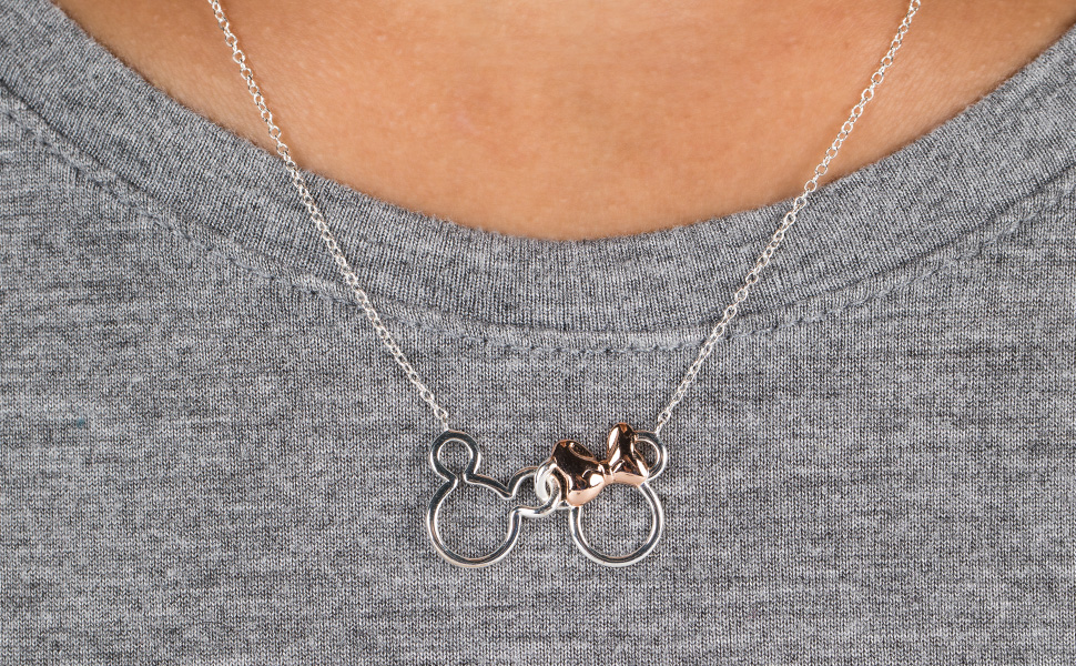 Fine jewelry, necklace, Mickey and Minnie Mouse, Disney