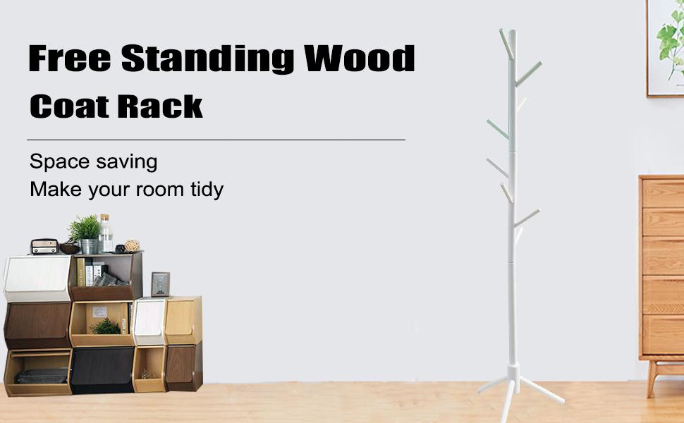 Amazon.com: Garwarm - Perchero de madera maciza con 8 ...