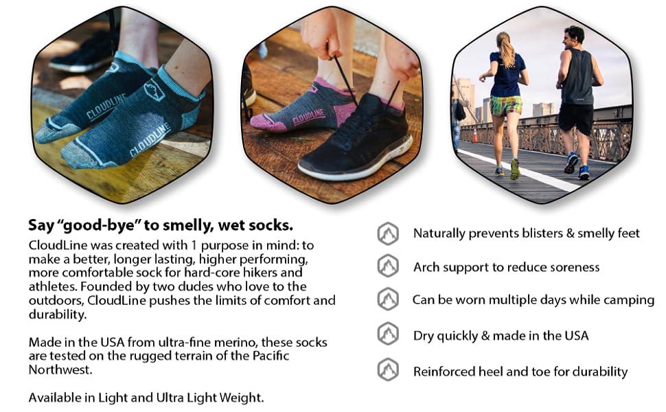 X-Large Backcountry Blue CloudLine Merino Wool Light Athletic Tab Ankle Running Socks