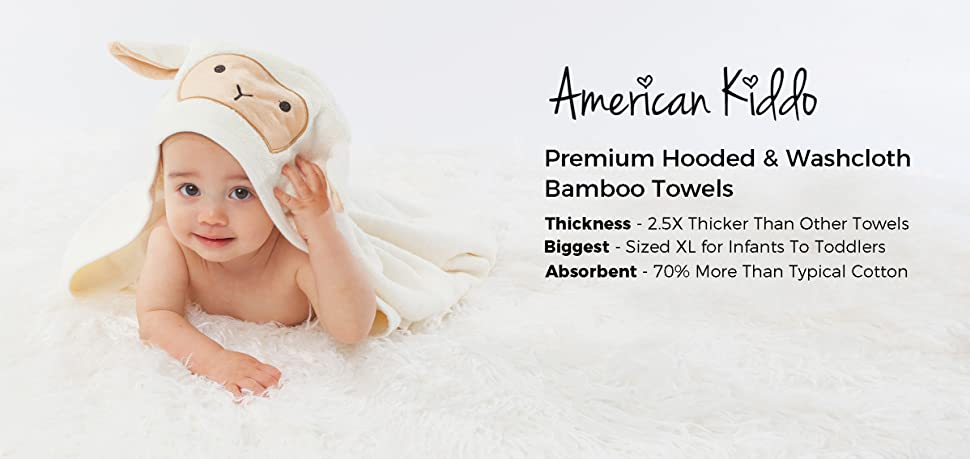American Kiddo Premium Baby Hooded Towel & Washcloth Set Organic Bamboo