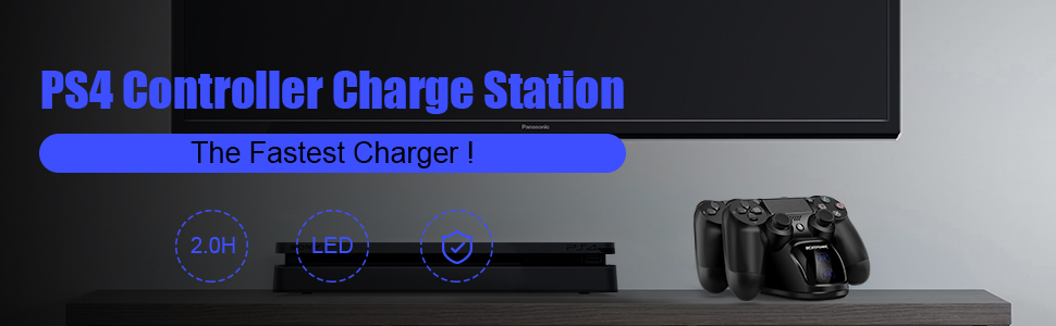 ECHTPower PS4 Controller Charger Station, Playstation4 Controller Charging Dock with LED Light Indicators for Playstation 4 Dualshock 4 / PS4 Slim / ...
