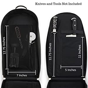 Knife Roll Bag Accessories Dimensions by Noble Home and Chef