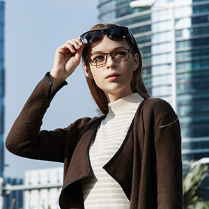 Women Model About to wear CAXMAN Small Over Glasses Sunglasses