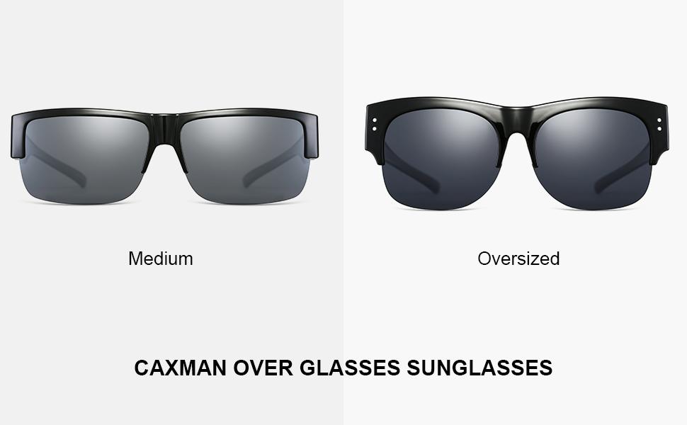 CAXMAN Semi Rimless Frame Over Glasses Sunglasses, Medium and Oversized, Main Image
