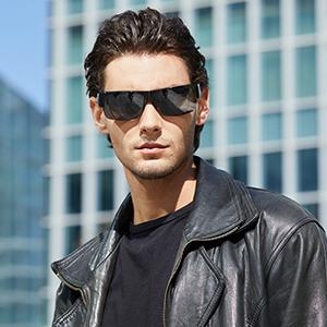 Mens Model with CAXMAN Medium Size Semi Rimless Fit Overs Black Frame Grey Lens