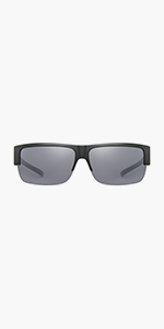 CAXMAN Semi Rimless Medium Size Over Glasses Sunglasses for MenWomen, 100% UV Protection