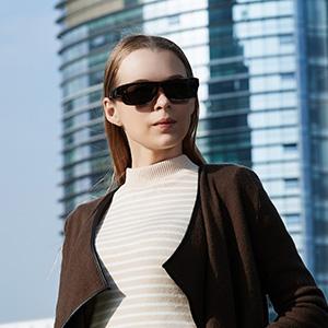 Women Model With CAXMAN Small Over Glasses Sunglasses