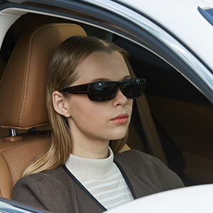 Women Model with CAXMAN Small Over Glasses Sunglasses Driving the Car