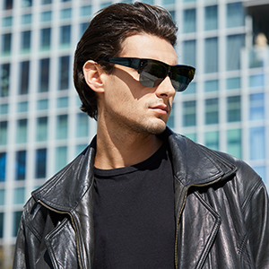 Mens Model with Oversized Semi Rimless Fit overs Black Frame Grey Lens