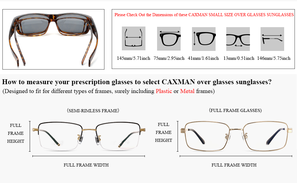 CAXMAN Small Size Over Glasses Sunglasses Dimension and Instructions on measuring your frames
