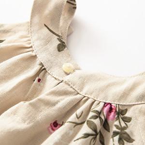 MULLSAN Little Big Girls Linen Dress Breathable Childrens Clothing Size 3-12