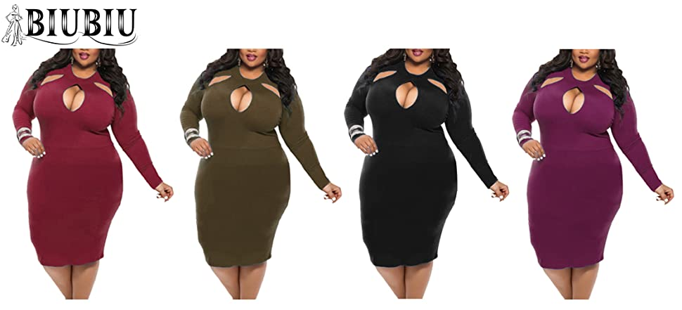 Amazon Biubiu Womens Plus Size Sexy Long Sleeve Club Bodycon