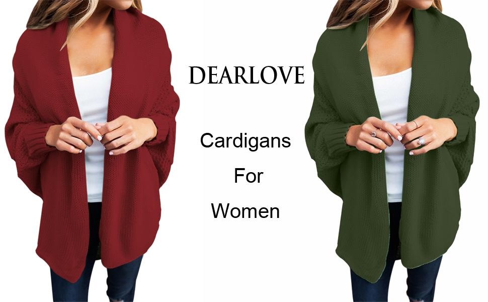 53ac5244a3 Dearlove Women s Casual Dolman Sleeve Open Front Knit Cardigan Sweaters  S-XXL