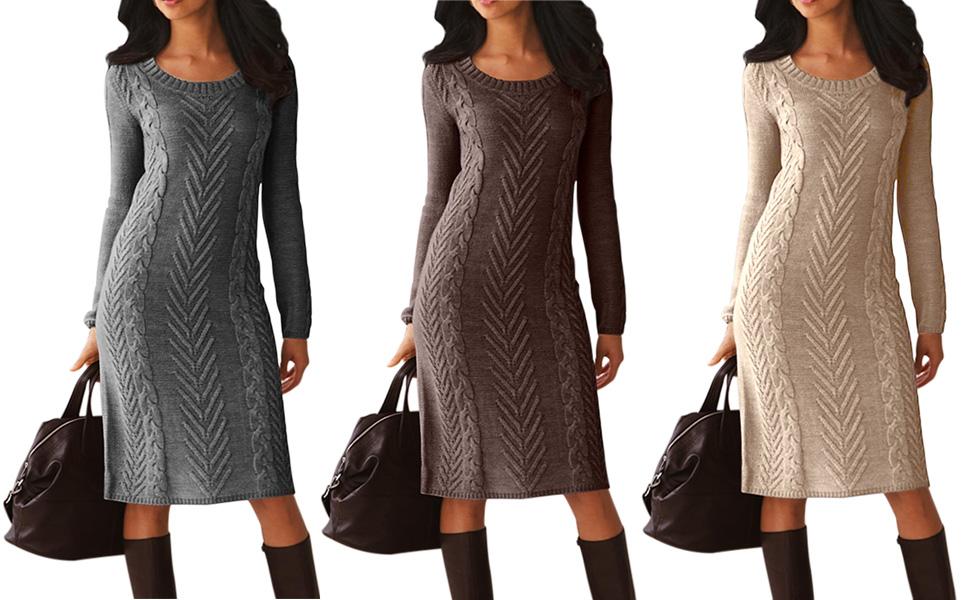4e8a5fdbce6 Dearlove Women s Long Sleeve Crew Neck Slim Knit Sweater Bodycon ...