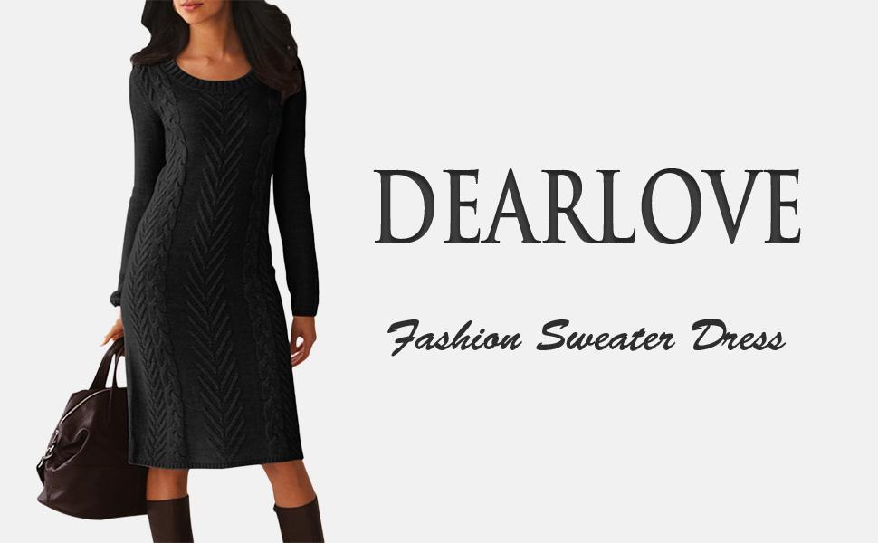 a26f1ed4a0b Dearlove Women s Long Sleeve Crew Neck Slim Knit Sweater Bodycon Midi Dress