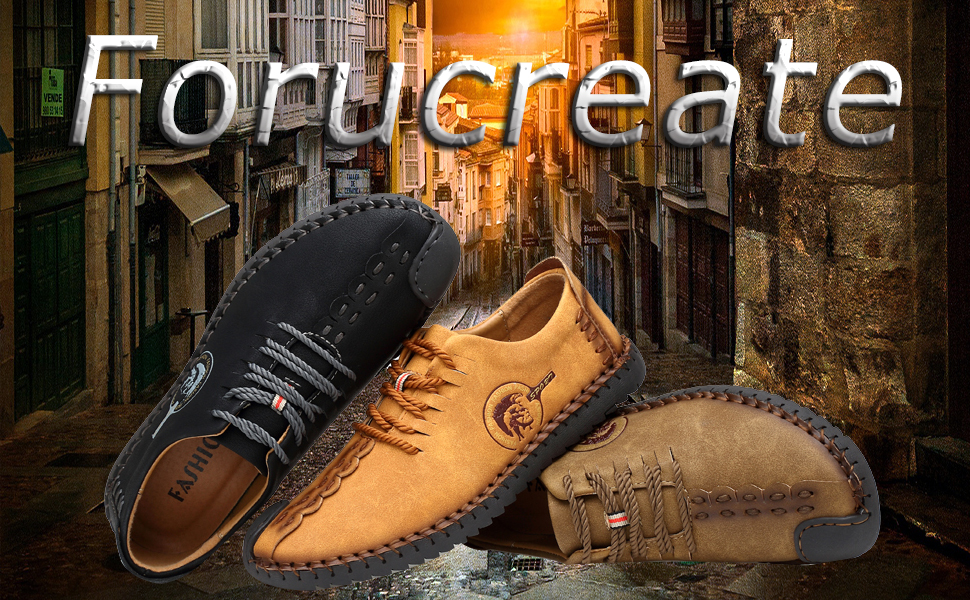 Forucreate Mens Leather Loafers Casual Slip On Flats Shoes Breathable Comfortable Walking Shoes Outdoor Sneakers