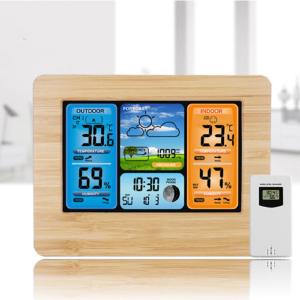 Barbella Wireless Weather Forecast Station-Color Display Alarm Clock Temperature Alerts, Indoor Outdoor Temperature Humidity, Remote Sensor, Barometer ...