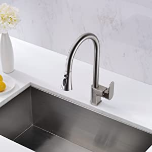 Gicasa Modern Brass Kitchen Sink Faucets Single Handle Pull Out