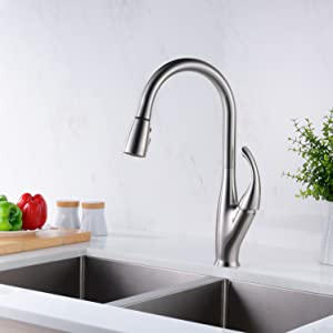 GICASA Faucet Modern Solid Brass Brushed Nickel Kitchen Sink Faucet With  Pull Out Sprayer, Stainless Steel Single Handle Pull Down Kitchen Faucets