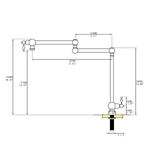 GICASA Solid Brass Deck Mount Pot Filler Faucet Oil Rubbed Bronze Pot Filler Folding Faucet Stretchable Double Swing Joint Single Hole Two Handle Kitchen Sink Faucet