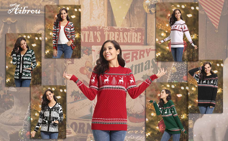 d4e0ce972b Aibrou Women Christmas Sweater Pullover Reindeer Tree Snowflakes ...