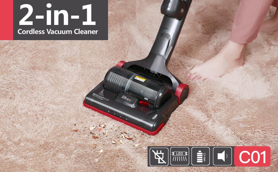 dibea c01 2in1 versatile cordless upright vacuum cleaner for hardwood floor and carpets - Cordless Vacuum Cleaner