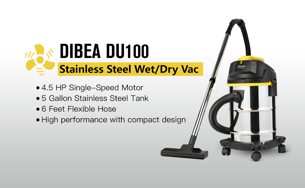Superbe Dibea 5 Gallon, 4.5 Peak HP Stainless Steel Wet Dry Floor Vacuum Cleaner  With Detachable Blower ...