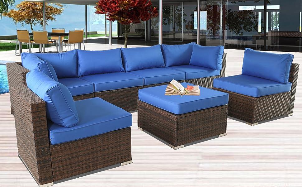 Amazon.com: Muebles de patio de ratán sofá al aire libre ...