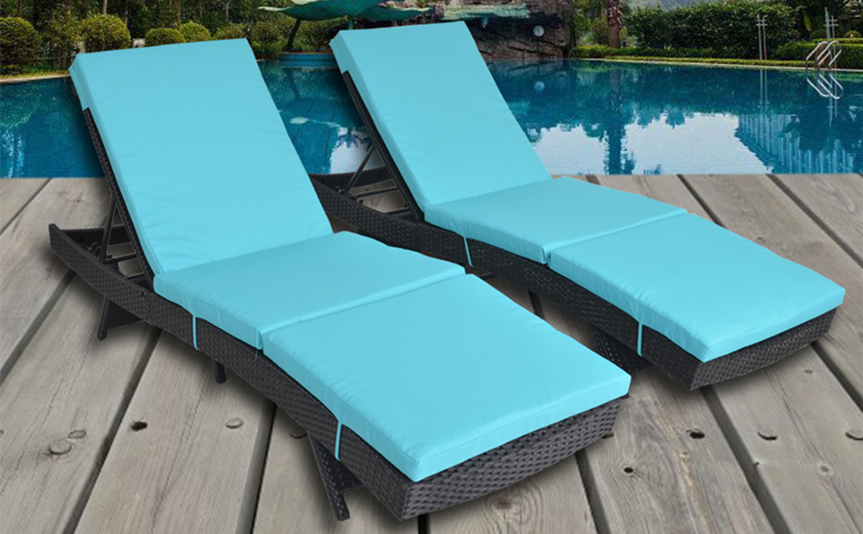 Amazon.com: Patio Furniture Chair Set Outdoor Patio Lounger Black ...