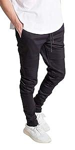 77f048df324 ... KDNK men s drop crotch twill pants ankle zip drawstring moto biker pant  for men chino trouser. KDNK Men s Skinny Fit Stretch Denim Zipper ...