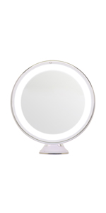 Locking Suction /& Unique Oval Countertop LightLUXE 5X Lighted Magnifying Makeup Mirror w//Bright LED Lights 360 Swivel