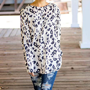 Tickled Teal Womens Long Sleeve Leopard Knit Casual Loose Sweater Outerwear