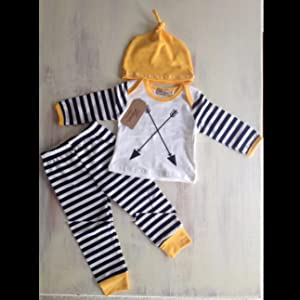 3Pcs/Set Newborn Baby Girl Boy Striped Long Sleeve Tops Pant Hat Outfits Clothes
