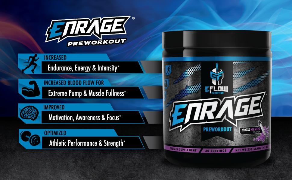 ENRAGE Preworkout - 4 Flavor Choices - Creatine, Beta Alanine, Citrulline, Agmatine, Caffeine, Energy, Focus, Strength, Endurance, Performance, Pump … ...
