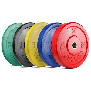 Colored olympic bumper plates will make your garage gym or affiliate stand out in the fitness world!
