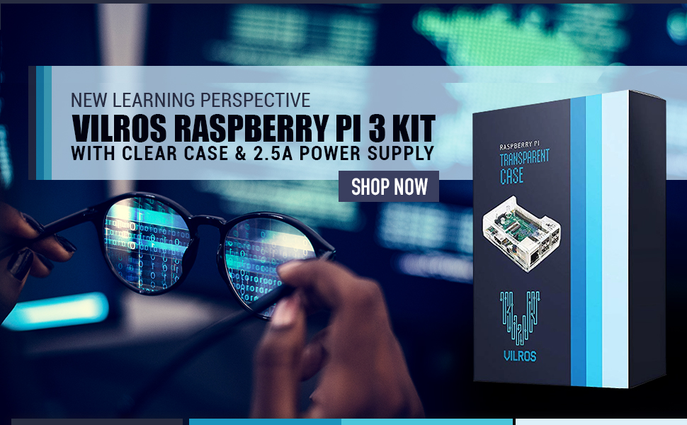 Vilros Raspberry Pi 3 Kit with Clear Case and 2.5A Power Supply, Raspberry Pi 3 Model B